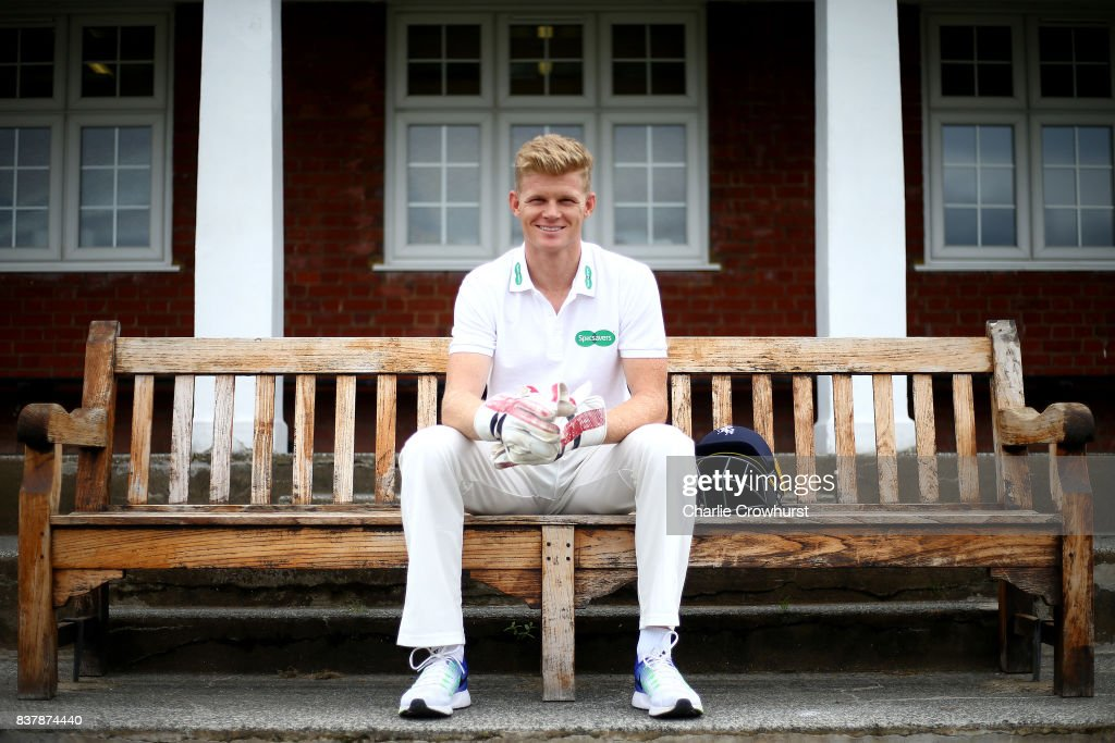 Kent wicket keeper Sam Billings poses for a photo during filming of the Specsavers advert The Umpires Strikes Back on August 23, 2017 in London, England.
