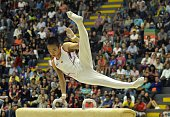 Kenta Chiba of Japan competes during the Men's Pommel Horse Final in the Artistic Gymnastics World Challenge Cup at the Ivan de Bedout coliseum on...