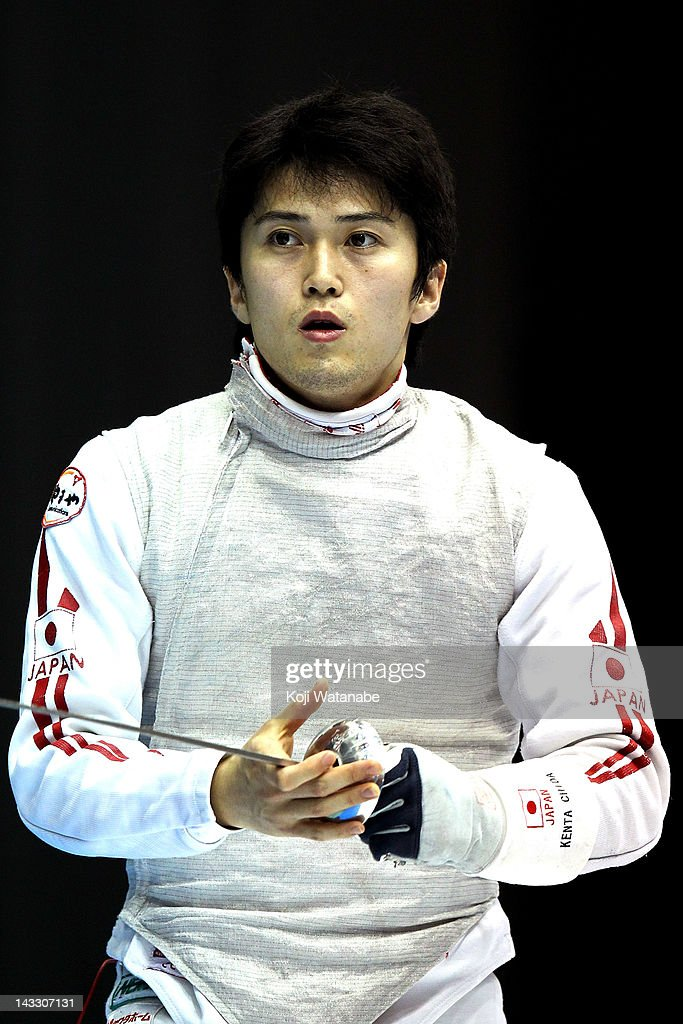 <a gi-track='captionPersonalityLinkClicked' href=/galleries/search?phrase=Kenta+Chida&family=editorial&specificpeople=4073098 ng-click='$event.stopPropagation()'>Kenta Chida</a> of Japan looks on during the Men's Foil individual tableau of 32 on day two of the 2012 Asian Fencing Championships at Wakayama Big Wave on April 23, 2012 in Wakayama, Japan.