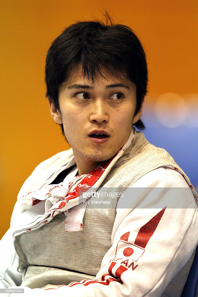 <a gi-track='captionPersonalityLinkClicked' href=/galleries/search?phrase=Kenta+Chida&family=editorial&specificpeople=4073098 ng-click='$event.stopPropagation()'>Kenta Chida</a> of Japan looks on in the Men's Foil individual tableau of 32 on day two of the 2012 Asian Fencing Championships at Wakayama Big Wave on April 23, 2012 in Wakayama, Japan.