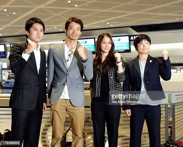 Kenta Chida Ryosuke Irie Rie Tanaka and Hitomi Obara pose for photographs on departure to Buenos Aires at Narita International Airport on September 3...