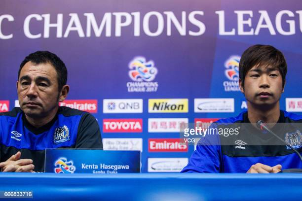 Kenta Hasegawa head coach of Gamba Osaka and Genta Miura attend a press conference ahead of the AFC Champions League Group E match between Jiangsu...