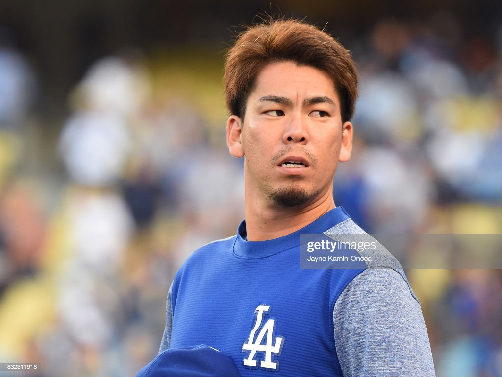 Kenta Maeda #18 of the Los Angeles Dodgers before the game against the Chicago White Sox at Dodger Stadium on August 15, 2017 in Los Angeles, California.