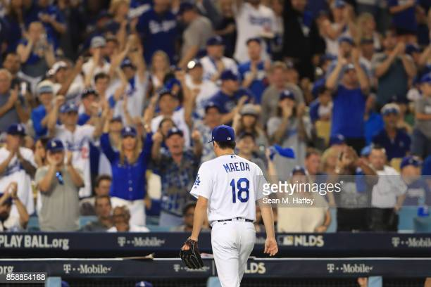 Kenta Maeda of the Los Angeles Dodgers comes off the field against the Arizona Diamondbacks in game two of the National League Division Series at...
