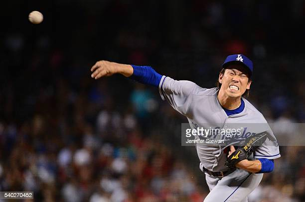 Kenta Maeda of the Los Angeles Dodgers delivers a pitch in the fifth inning against the Arizona Diamondbacks at Chase Field on June 14 2016 in...