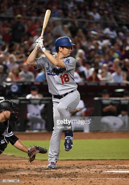 Kenta Maeda of the Los Angeles Dodgers gets ready in the batters box during the third inning against the Arizona Diamondbacks at Chase Field on...