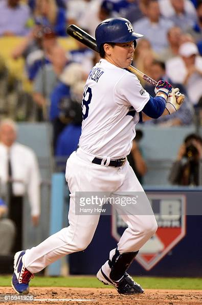 Kenta Maeda of the Los Angeles Dodgers hits in the third inning against the Chicago Cubs in game five of the National League Division Series at...