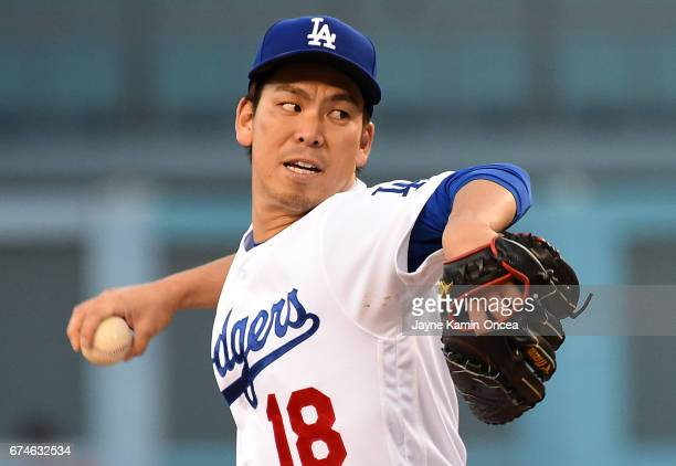 Kenta Maeda of the Los Angeles Dodgers in the first inning of the game against the Philadelphia Phillies at Dodger Stadium on April 28 2017 in Los...