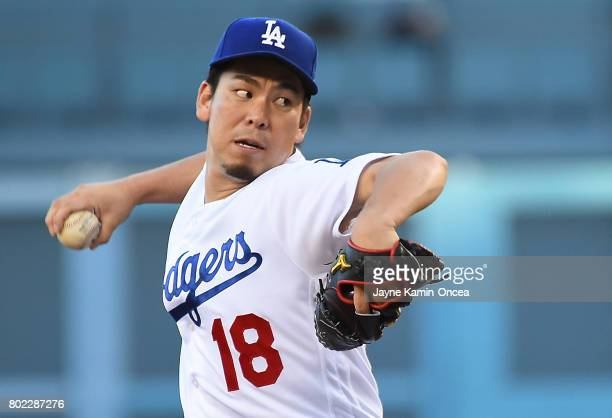 Kenta Maeda of the Los Angeles Dodgers in the first inning of the game against the Los Angeles Angels of Anaheim at Dodger Stadium on June 27 2017 in...