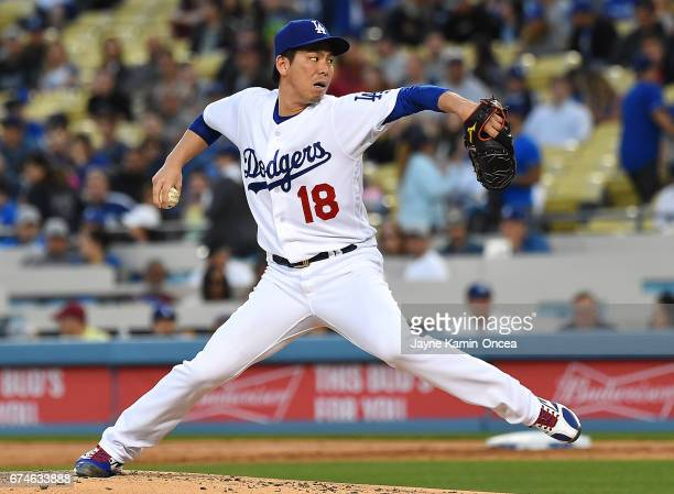 Kenta Maeda of the Los Angeles Dodgers in the second inning of the game against the Philadelphia Phillies at Dodger Stadium on April 28 2017 in Los...