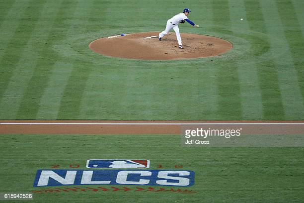 Kenta Maeda of the Los Angeles Dodgers pitches against the Chicago Cubs in game five of the National League Division Series at Dodger Stadium on...