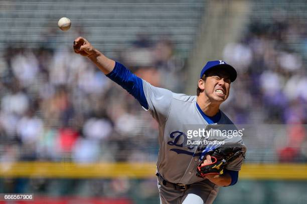 Kenta Maeda of the Los Angeles Dodgers pitches against the Colorado Rockies in the first inning of a game at Coors Field on April 9 2017 in Denver...
