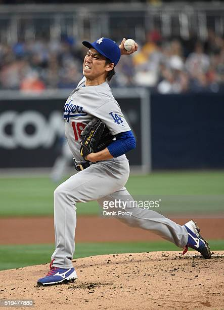 Kenta Maeda of the Los Angeles Dodgers pitches during the first inning of a baseball game against the San Diego Padres at PETCO Park on April 6 2016...
