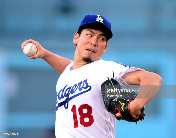 Kenta Maeda of the Los Angeles Dodgers pitches during the first inning against the Minnesota Twins at Dodger Stadium on July 25 2017 in Los Angeles...