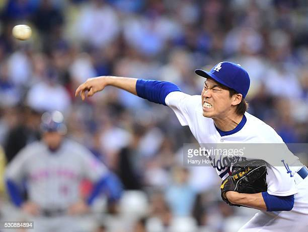 Kenta Maeda of the Los Angeles Dodgers pitches during the second inning against the New York Mets at Dodger Stadium on May 11 2016 in Los Angeles...