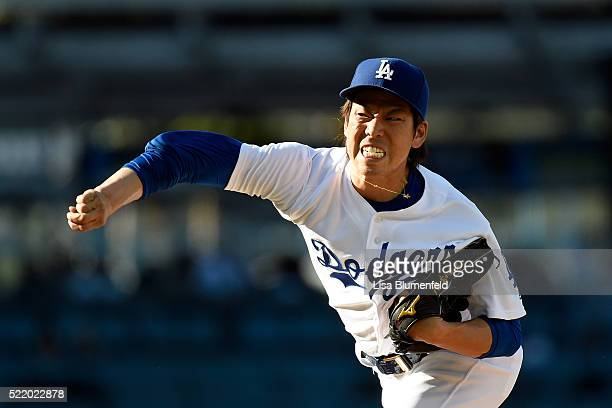 Kenta Maeda of the Los Angeles Dodgers pitches in the first inning against the San Francisco Giants at Dodger Stadium on April 17 2016 in Los Angeles...