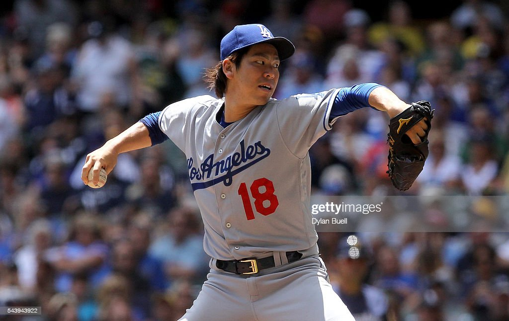 <a gi-track='captionPersonalityLinkClicked' href=/galleries/search?phrase=Kenta+Maeda&family=editorial&specificpeople=10509788 ng-click='$event.stopPropagation()'>Kenta Maeda</a> #18 of the Los Angeles Dodgers pitches in the first inning against the Milwaukee Brewers at Miller Park on June 30, 2016 in Milwaukee, Wisconsin.