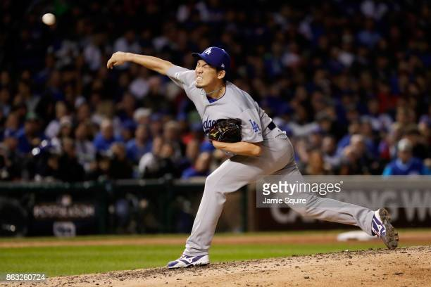 Kenta Maeda of the Los Angeles Dodgers pitches in the seventh inning against the Chicago Cubs during game five of the National League Championship...