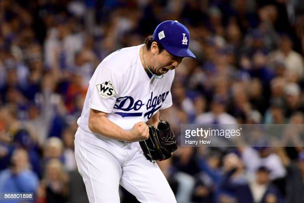 Kenta Maeda of the Los Angeles Dodgers reacts after the final out in the seventh inning against the Houston Astros during game six of the 2017 World...