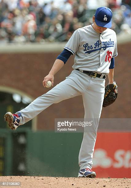Kenta Maeda of the Los Angeles Dodgers starts in the season's last game against the San Francisco Giants at ATampT Park in San Francisco on Oct 2...