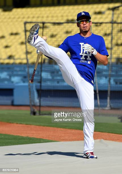 Kenta Maeda of the Los Angeles Dodgers warms up for batting practice before the game against the Chicago White Sox at Dodger Stadium on August 16...