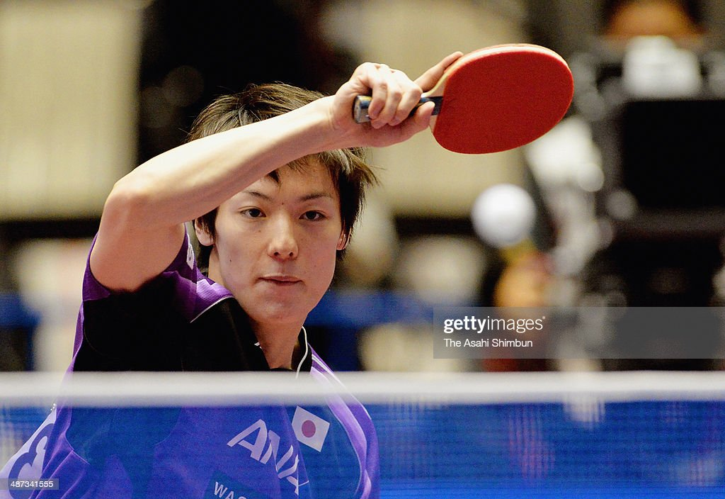 Kenta Matsudaira of Japan competes in the game against Hunor Szocs of Romania during day two of the 2014 World Team Table Tennis Championships at Yoyogi National Gymnasium on April 29, 2014 in Tokyo, Japan.