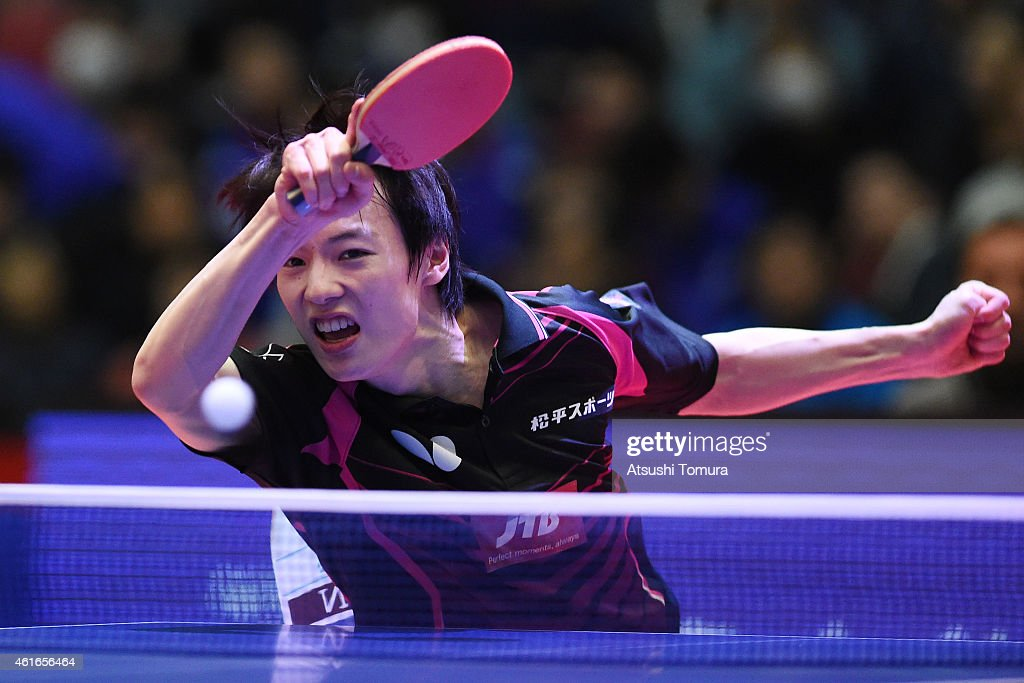 Kenta Matsudaira of Japan competes in the Men's Singles during day six of All Japan Table Tennis Championships 2015 at Tokyo Metropolitan Gymnasium on January 17, 2015 in Tokyo, Japan.