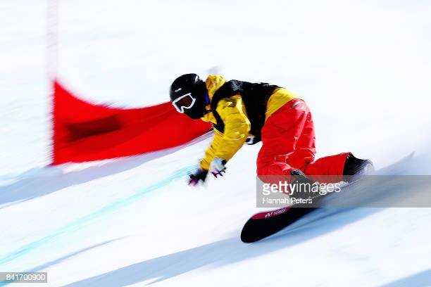 Kenta Tahara of Japan competes in the Men's Banked Slalom Lower Limb 2 Imp final during the Winter Games NZ Para Snowboard Banked Slalom World Cup...