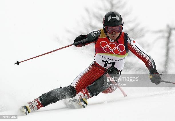 Kentaro Minagawa of Japan competes in the Final of the Mens Alpine Skiing Slalom on Day 15 of the 2006 Turin Winter Olympic Games on February 25 2006...