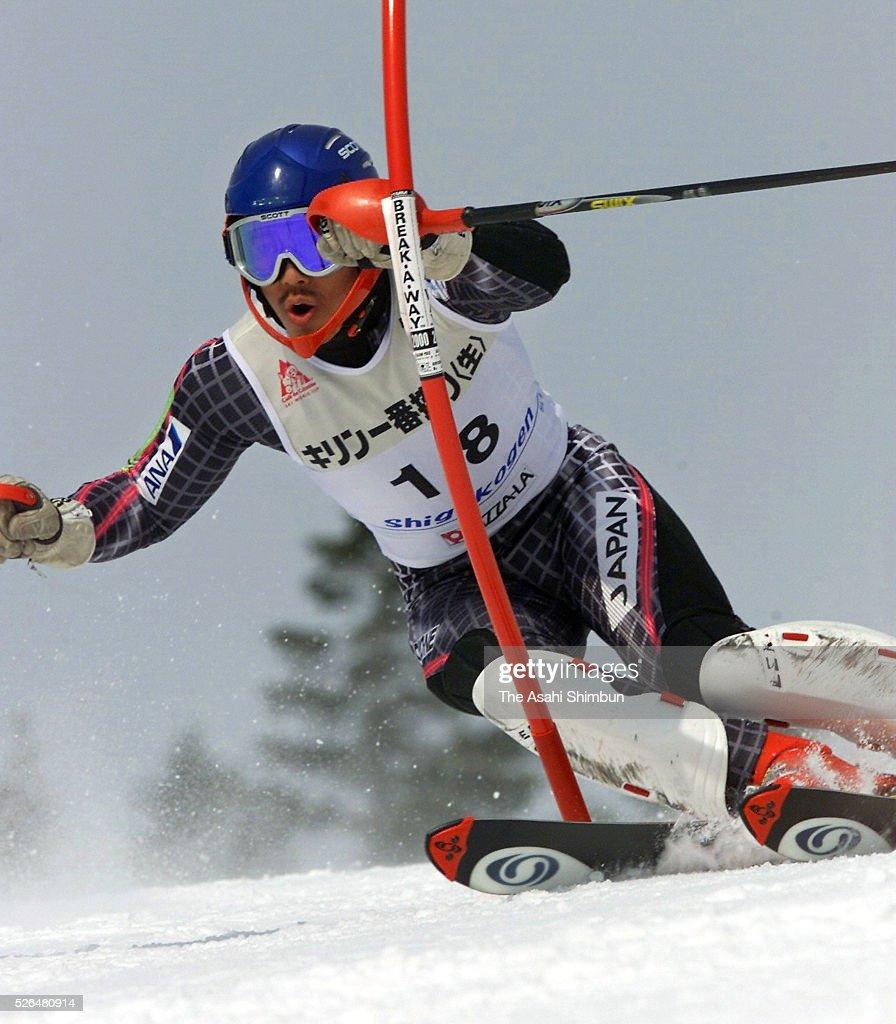 Kentaro Minagawa of Japan competes in the Men's Slalom of the FIS Alpine Skiing World Cup Shigakogen on February 18 2001 in Yamanouchi Nagano Japan