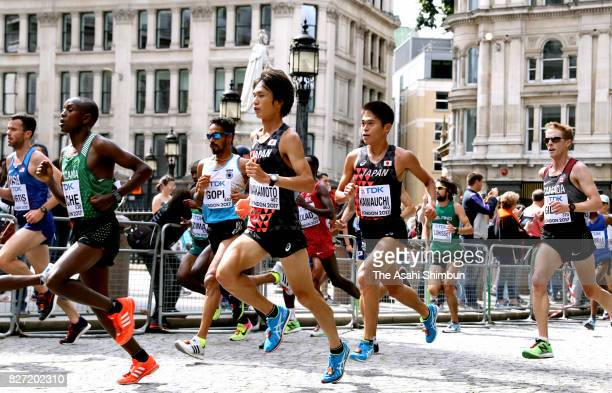 Kentaro Nakamoto and Yuki Kwauchi of Japan compete in the Men's marathon during day three of the 16th IAAF World Athletics Championships London 2017...