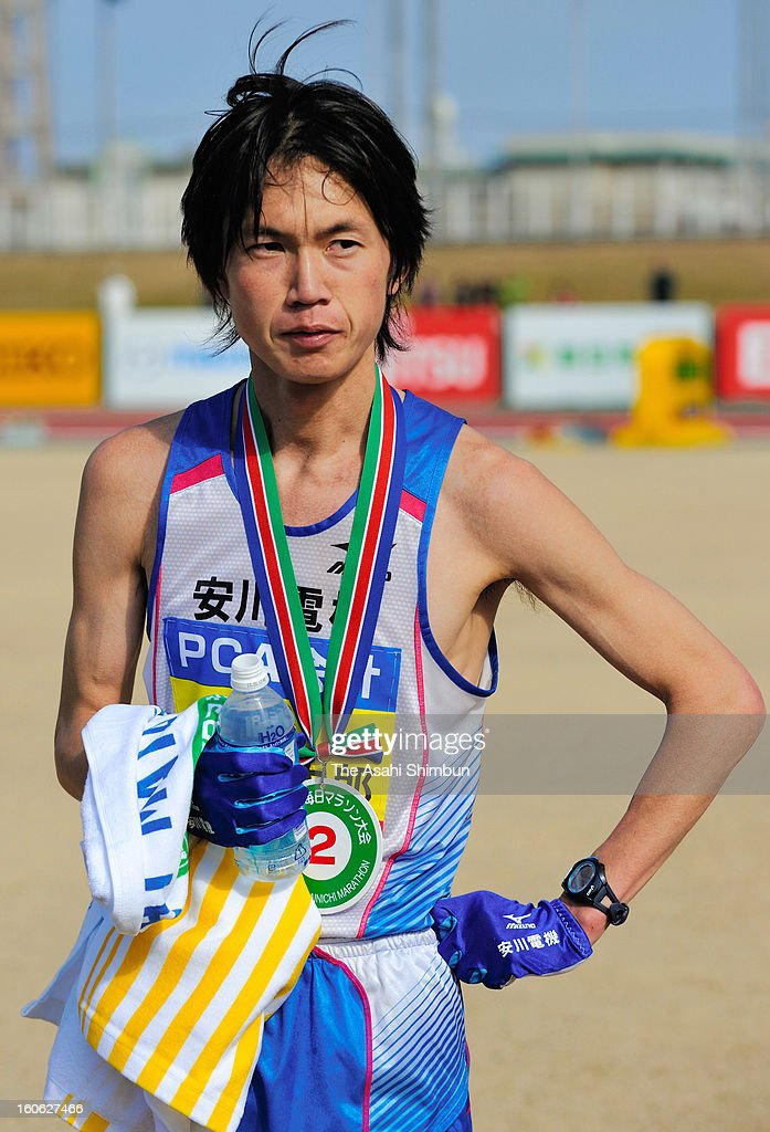 <a gi-track='captionPersonalityLinkClicked' href=/galleries/search?phrase=Kentaro+Nakamoto&family=editorial&specificpeople=8194114 ng-click='$event.stopPropagation()'>Kentaro Nakamoto</a> reacts after competing in the 62nd Beppu-Oita Mainichi Marathon on February 3, 2013 in Oita, Japan.
