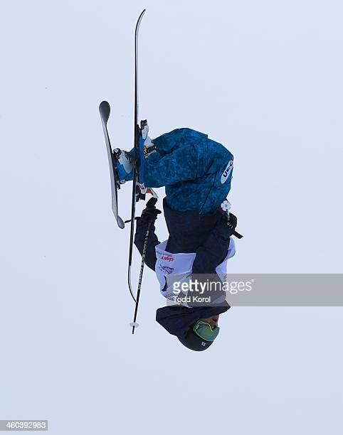 Kentaro Tsuda of Japan flies through the air during the men's halfpipe finals at the FIS Freestyle Ski World Cup January 3 2014 in Calgary Alberta...
