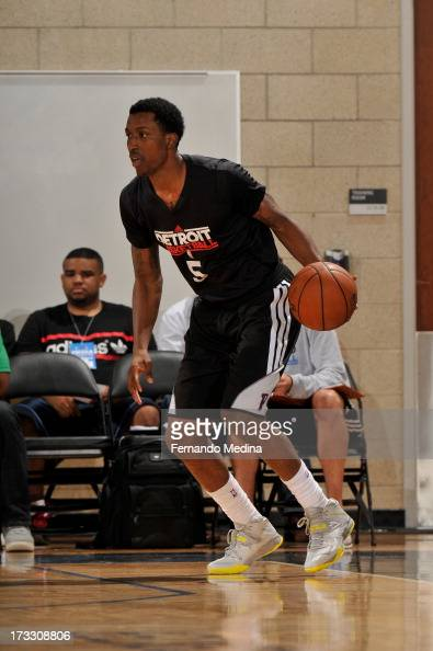 Kentavious CaldwellPope of the Detroit Pistons dribbles the ball against the Miami Heat during the 2013 Southwest Airlines Orlando Pro Summer League...