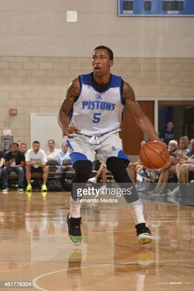 Kentavious CaldwellPope of the Detroit Pistons dribbles the ball against the Memphis Grizzlies during the game during the Samsung NBA Summer League...