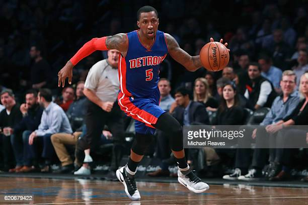 Kentavious CaldwellPope of the Detroit Pistons dribbles up court against the Brooklyn Nets during the second half at Barclays Center on November 2...