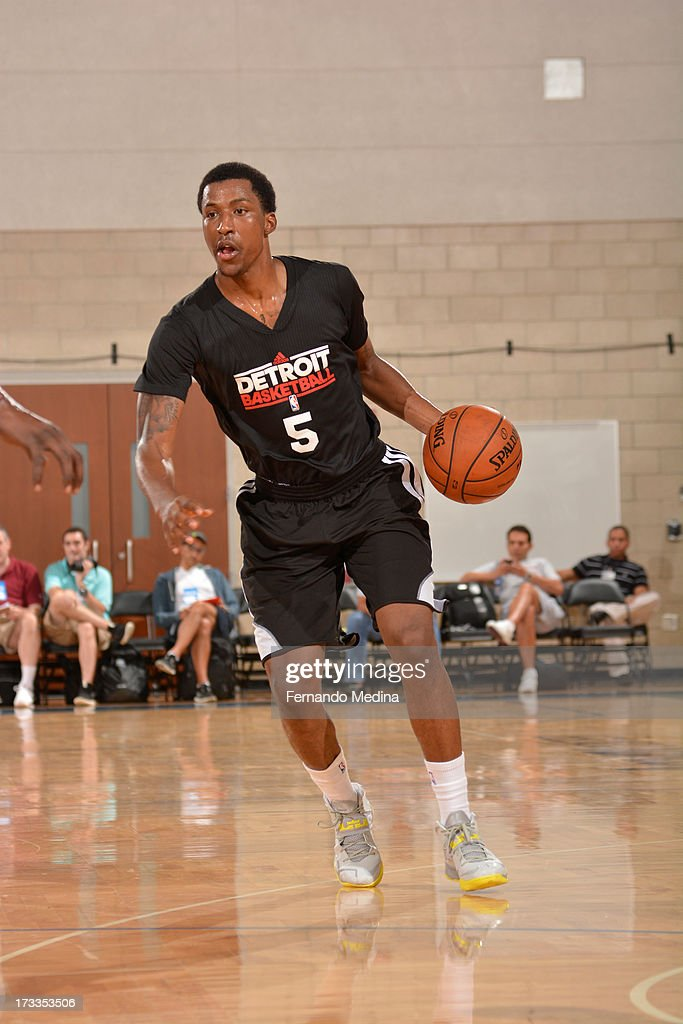 Kentavious Caldwell-Pope #5 of the Detroit Pistons drives against the Miami Heat during the 2013 Southwest Airlines Orlando Pro Summer League on July 12, 2013 at Amway Center in Orlando, Florida.
