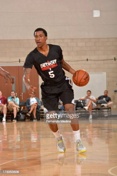 Kentavious CaldwellPope of the Detroit Pistons drives against the Miami Heat during the 2013 Southwest Airlines Orlando Pro Summer League on July 12...