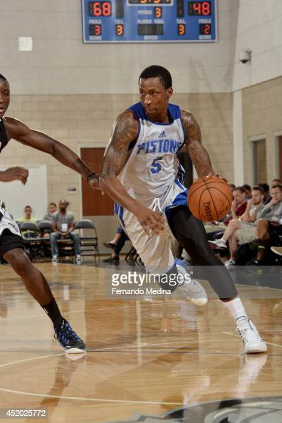 Kentavious CaldwellPope of the Detroit Pistons drives against the Orlando Magic during the Samsung NBA Summer League 2014 during the Samsung NBA...