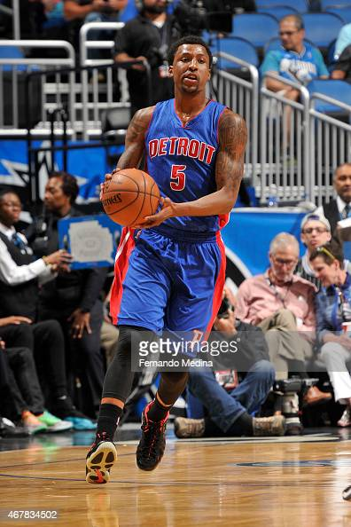 Kentavious CaldwellPope of the Detroit Pistons drives against the Orlando Magic on March 27 2015 at Amway Center in Orlando Florida NOTE TO USER User...