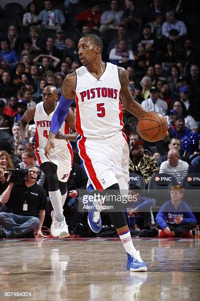 Kentavious CaldwellPope of the Detroit Pistons drives against the Cleveland Cavaliers during the game on January 29 2016 at The Palace of Auburn...