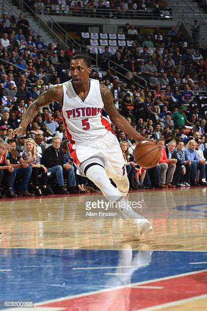 Kentavious CaldwellPope of the Detroit Pistons drives against the Cleveland Cavaliers during Game Three of the Eastern Conference Quarterfinals...