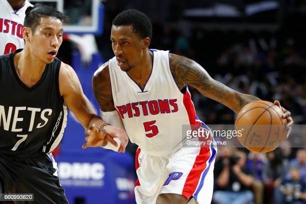 Kentavious CaldwellPope of the Detroit Pistons drives around Jeremy Lin of the Brooklyn Nets during the first half at the Palace of Auburn Hills on...