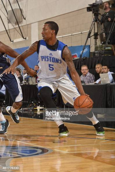 Kentavious CaldwellPope of the Detroit Pistons drives baseline against the Memphis Grizzlies during the game during the Samsung NBA Summer League...