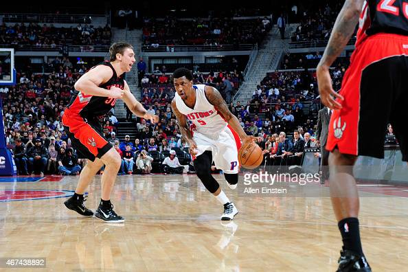 Kentavious CaldwellPope of the Detroit Pistons drives to the basket against the Toronto Raptors during the game on March 24 2015 at The Palace of...