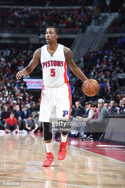 Kentavious CaldwellPope of the Detroit Pistons drives to the basket against the Oklahoma City Thunder during the game on March 29 2016 at The Palace...