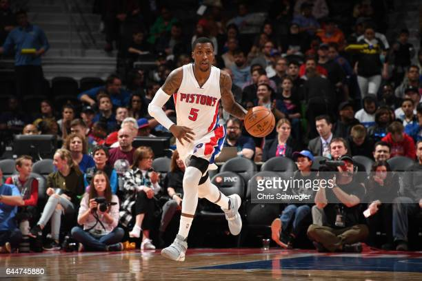 Kentavious CaldwellPope of the Detroit Pistons drives to the basket against the Charlotte Hornets during the game on February 23 2017 at The Palace...