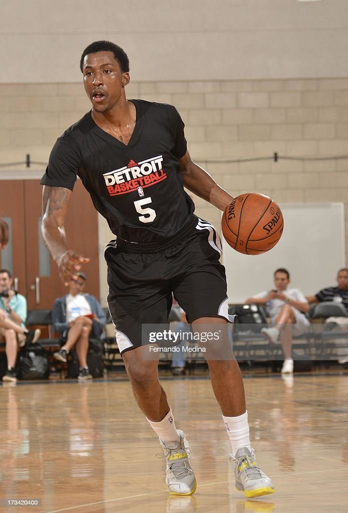 Kentavious Caldwell-Pope #5 of the Detroit Pistons drives up court during the 2013 Southwest Airlines Orlando Pro Summer League between the Detroit Pistons and the Miami Heat on July 12, 2013 at Amway Center in Orlando, Florida.