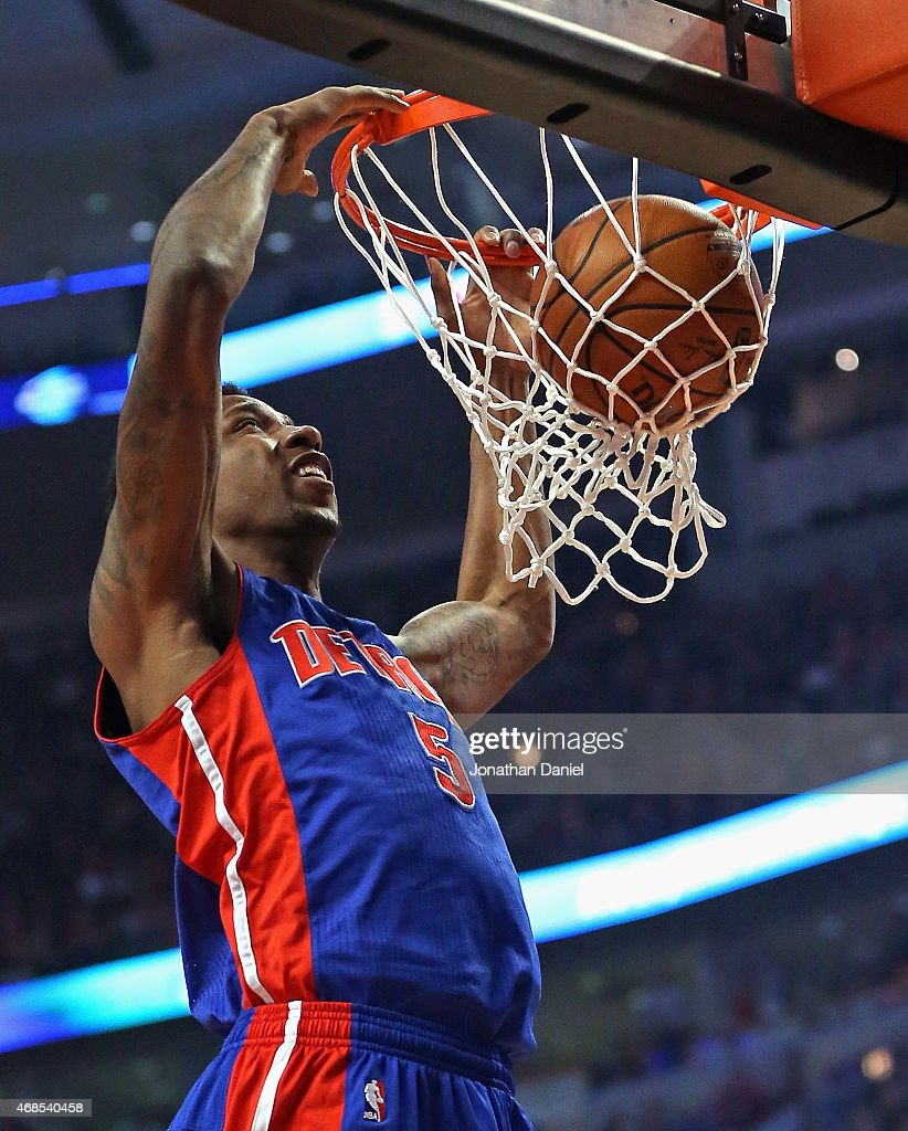 Kentavious CaldwellPope of the Detroit Pistons dunbks against the Chicago Bulls at the United Center on April 3 2015 in Chicago Illinois NOTE TO USER...