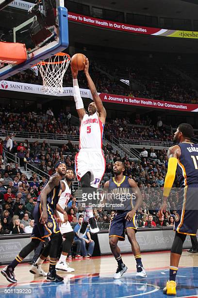 Kentavious CaldwellPope of the Detroit Pistons dunks against the Indiana Pacers on December 12 2015 at The Palace of Auburn Hills in Auburn Hills...